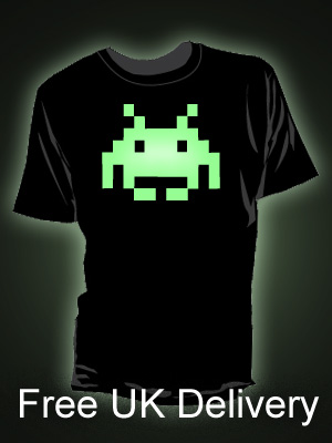 Glow in the Dark Space Invaders T-shirts